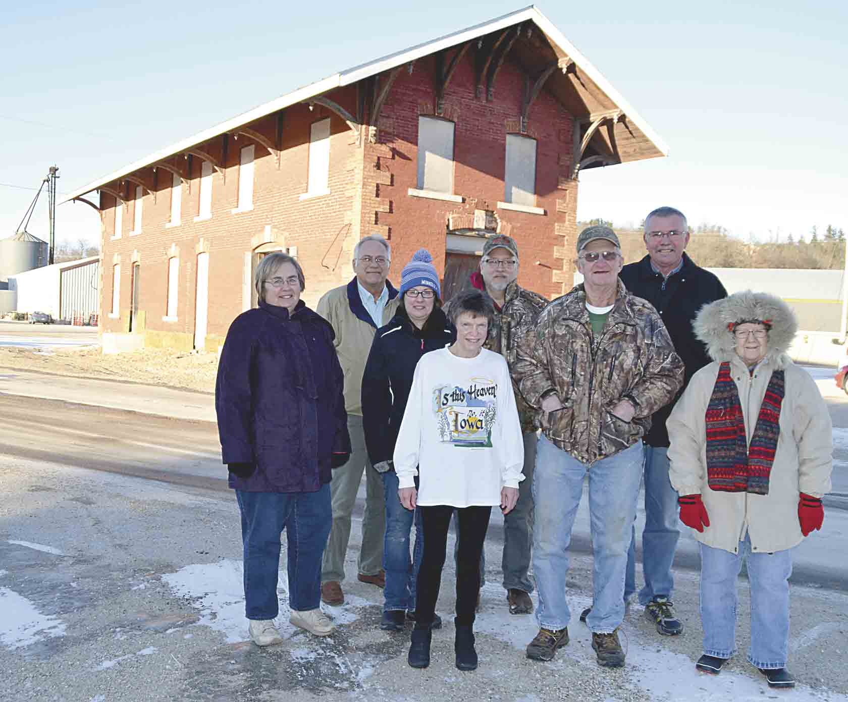 Viafield has agreed to deed over the historic Rock Island Railroad depot in Clermont to the Clermont Historical Society, so the Historic Rock Island Railroad Depot Restoration Committee can begin restoring the building. Members from the committee, thanked including (front, l-r) Kathy (Meier...