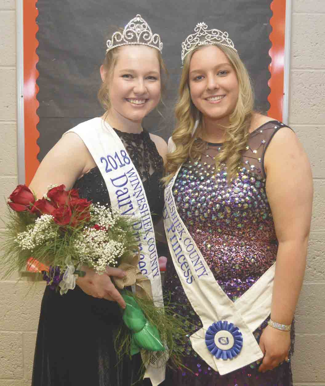 Crowned at Saturday night's Winneshiek County Dairy Banquet in Ossian were Dairy Princess Bailey Miculinich (left) and Alternate Dairy Princess Stacia Sexton. See more photos inside of Dairy royalty and award-winners from the annual banquet. (Zakary Kriener photo)	 	2018...