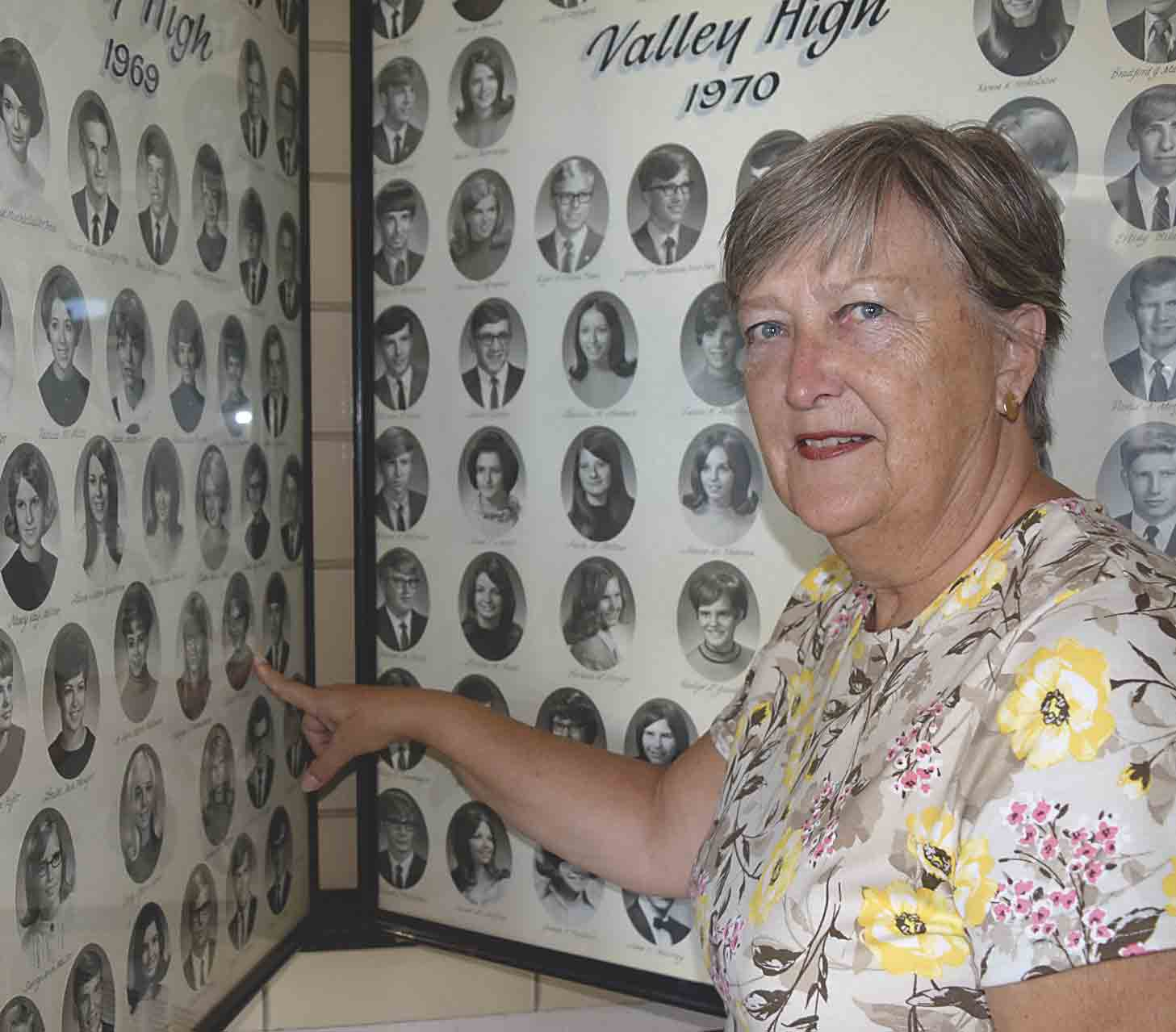 Elaine (Thorson) Elagoz, daughter of the late Clarence and Lillian Thorson, rural Clermont points at her senior photo in the composite of the Valley class of 1969. Over 40 years ago she left Iowa to pursue her dream of teaching abroad is Izmir, Turkey where she taught for 26...