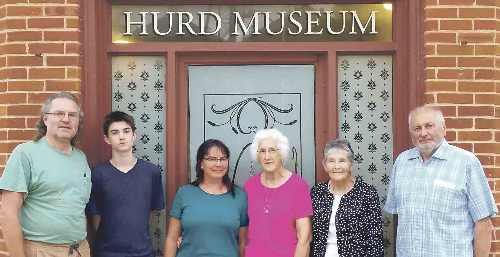 Hawkeye's Hurd Museum hosted the Schlegel family on Sunday, Aug. 6, as the German visitors conducted further research on their family's connections to Fayette County. (L-r) Matthias Schlegel, Cosimo Schlegel, Elke Schlegel, Hurd Museum volunteers Evelyn Schultz and Shirley Gibbs,...