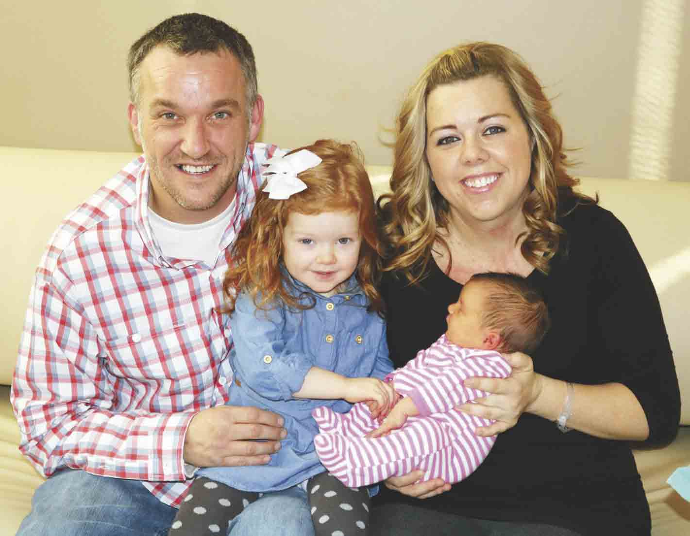 Hadley Jewel Gronna was the first baby born in the new year at Winneshiek Medical Center in Decorah. Arriving at 2:41 p.m. Monday, Jan. 2, Hadley weighed 9 lbs. 1 oz. and measured 21 inches. Welcoming her into the world were (l-r) dad Ryan, big sister Maya, and mom Laura Gronna of Decorah...