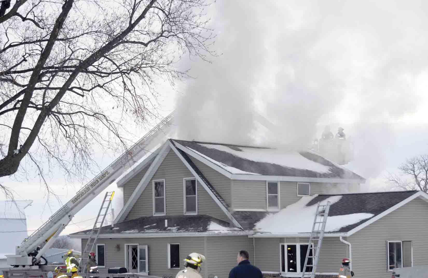 The Decorah Fire Department's aerial truck was one of many area emergency response resources utilized at a house fire on Tuesday, Jan. 5, in rural Winneshiek County. The Calmar Fire Department got the initial call at approximately 2:30 p.m. that day and was soon after joined by the Fort...