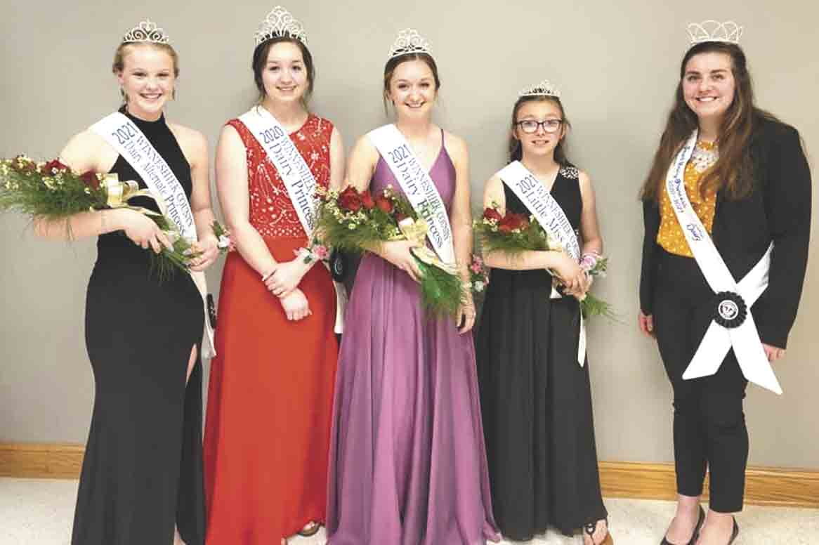 Winneshiek County Dairy Royalty There was a lot of royalty at the 2021 Winneshiek County Dairy Banquet. Pictured (l-r) are 2021 Alternate Princess Ashley Elsbernd, 2020 Dairy Princess Ashley Neirling, 2021 Dairy Princess Emily Carolan, 2021 Little Miss Squirt Kalyse Waterman and Iowa...