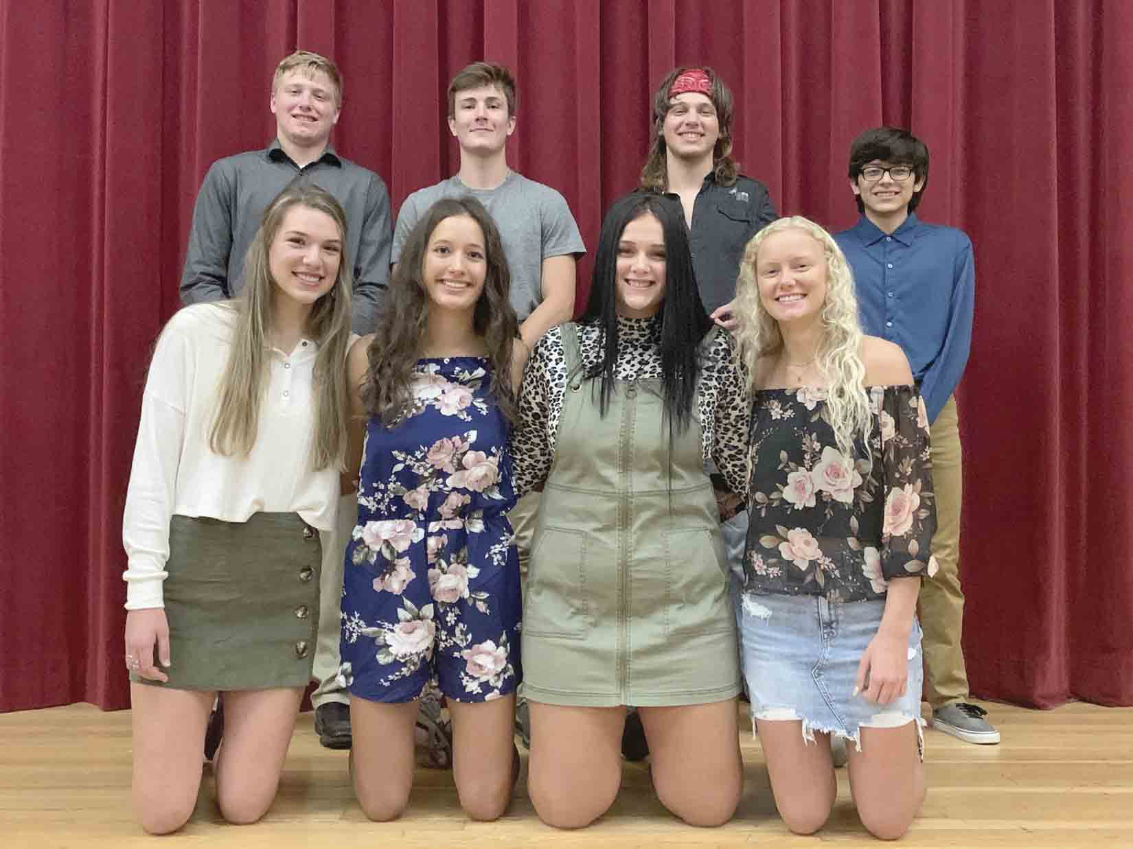 Members of the 2020 South Winneshiek Homecoming court include (front, l-r) Madison Kriener, Mary Frana, Presley Bushman, and Rebecca Wagner; (back) Jacob Herold, Cael Kuboushek, Jace Nahl, and Mark Flores. Coronation will be held via a live stream at 2:45 on Thursday (public is not allowed). (...