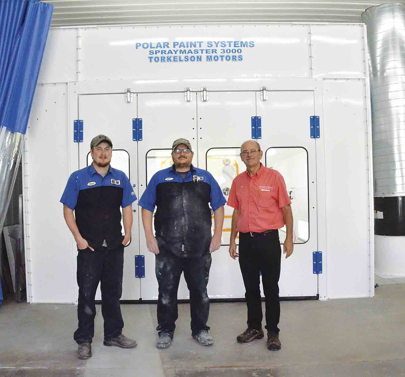 Body Shop Technicians (l-r) Paul Seabrooke and Eric Stone and owner Dirk Torkelson are shown in front of the new paint booth that is inside the new body shop at Torkelson Motors in Elgin. (Jack Swanson photo)Torkelson's new state-of-the-art body shop, now openBy Jack...