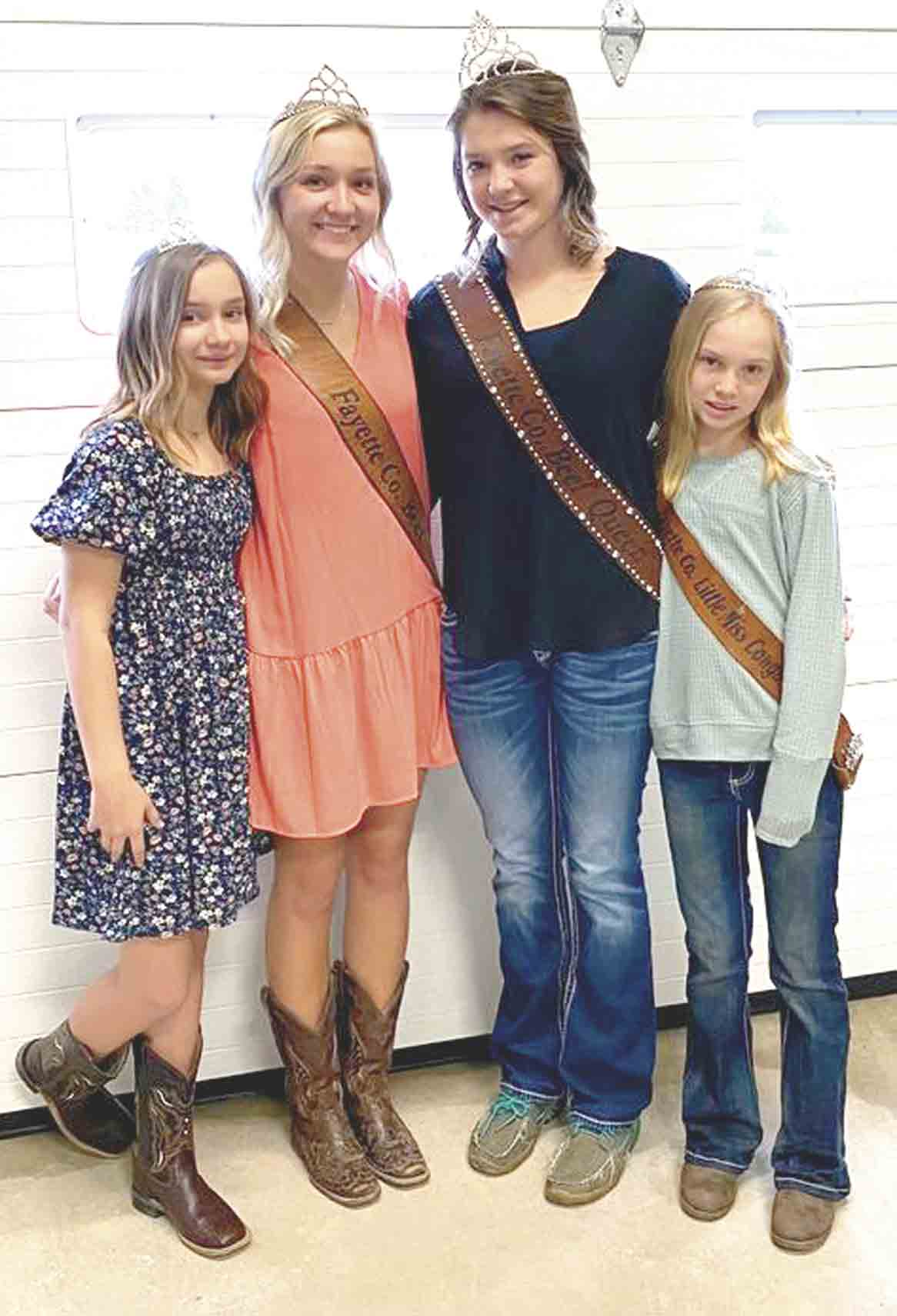 The 2021 Fayette County Beef Royalty were crowned recently. The new Beef Queen is Kasydi Meyer (second from right). The new Beef Princess is Isabelle Steinbronn (second from left). Little Miss Cowgirls are Sam Steinbronn and Autumn Miller. The 2021 Beef Banquet will be held sometime in June...